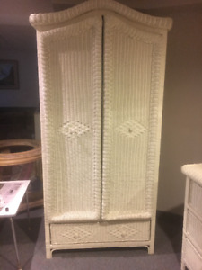 WICKER DRESSER AND ARMOIRE