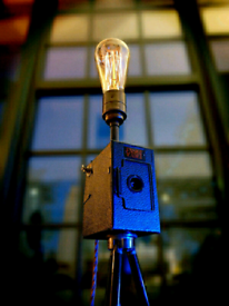 Upcycled Vintage Ensign Camera Edison Tripod Lamp
