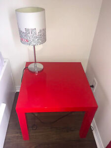 Red bedside/accent table