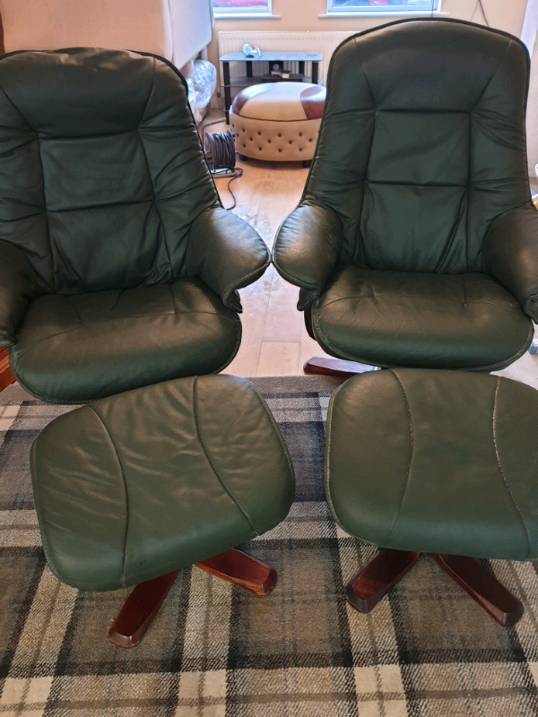 Dark green leather recliner chairs with stools   in Newry, County Down   Gumtree