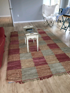 Leather and material patchwork rug