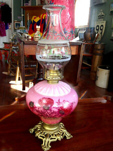 "Antique Oil Lamp - ""Thistle Pattern"""