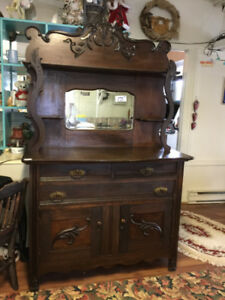 EARLY VICTORIAN BUFFET/SIDEBOARD WITH MIRROR DARK OAK