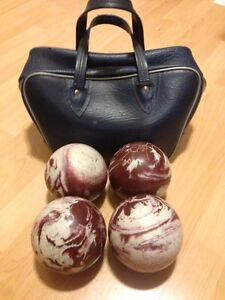 Bowling balls and case