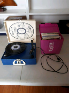 Retro suitcase record player and 45's
