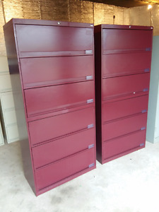Matching Burgundy 6 drawer Filing Cabinets