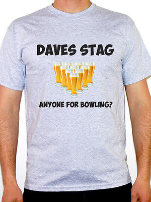 PERSONALISED STAG PARTY - Bowling / Ten Pin / Beer / Novelty Themed Mens T-Shirt](Bowling Themed Party)