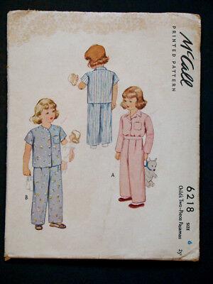 1940's Vintage McCALL #6218 BOY / GIRL PAJAMAS Fashion DRESS PATTERN /Child Sz 6