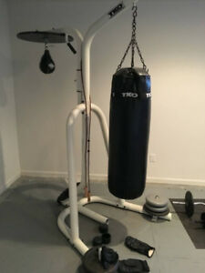 TKO Deluxe Heavy Bag W/ Stand And Speed Bag Station
