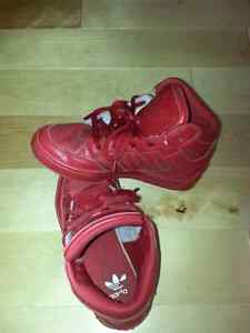 Boys red leather Adidas hi tops shoes size 12