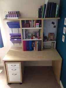 IKEA Mikael workstation / desk w/ add-on hutch and drawer unit