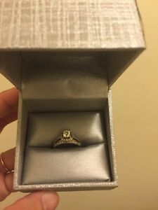 ONE CT diamond 14 K gold engagement and wedding band set!
