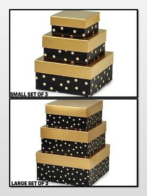 - Golden Midnight Nested Gift Boxes 3 Piece Square CHOOSE Small or Large SET