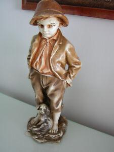 """Ancienne figurine """"Petit garçon et son chien"""""""