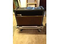 Vox ac30 valve amp with blue back speakers and flight case