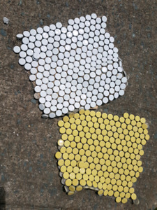 White and yellow penny tiles!