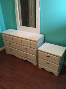 White Dresser and Night Table with Mirror