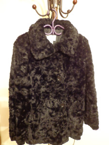 STEILMANN BLACK FAUX FUR COAT JACKET SIZE 10  $ 25