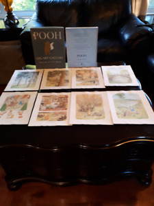 1957 Winnie the pooh water colour collection prints