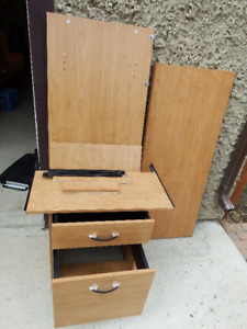 Desk pieces with file cabinet