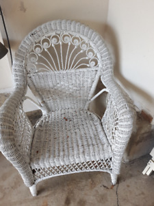 Wicker furniture, inside only, real wood