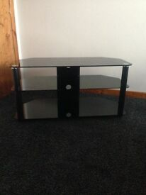 Black tempered glass tv table three tier