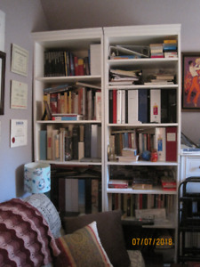 Beautiful over-height  book cases in white.  Cannot deliver.