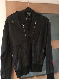 Luke leather hooded jacket