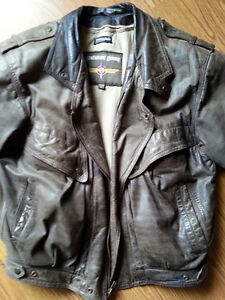 BROWN AVIATOR BIKER JACKET WITH ZIP OUT LINER