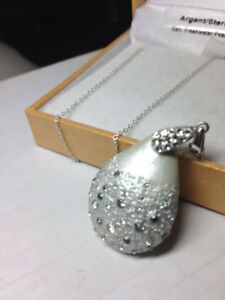 Silver Tear Drop Necklace Pendant with Necklace $89 on sale $30