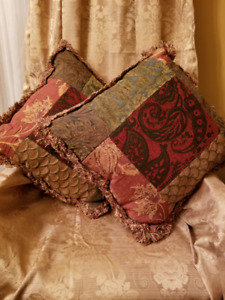 Decor Pillows -Matching Brocade Green and Gold from Home Sense