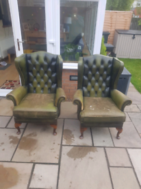 Green Chesterfield Armchairs