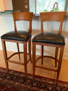 Quality Leather and wood bar stools