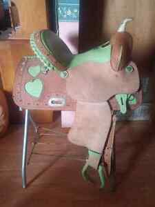 15 inch saddle + breast collar, cinch, blanket, headstall & bit