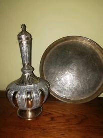 Brass Plate & Decanter