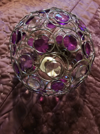 Matching purple curtains , king size throw and lamp easy fit pendant