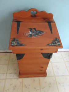 handpainted wooden garbage can