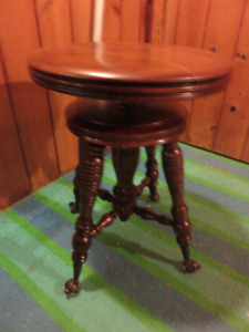a ANTIQUE WOODEN PIANO SWIVEL STOOL IN EXCELLENT CONDITION ASKIN