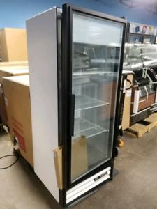 True single door glass freezer