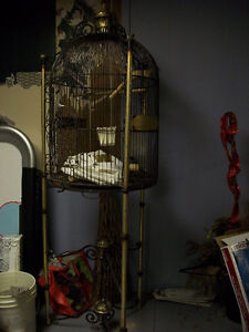 Large Brass Parrot Carriage/Cage with acc