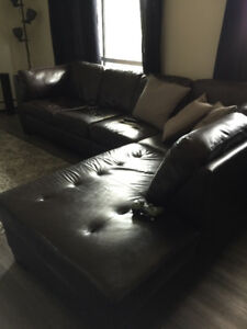 Dark Brown Leather Sectional Couch