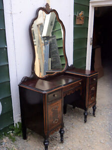 ANTIQUE DRESSER,VANITY AND NIGHT TABLE