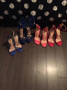 NEW ASSORTED STRAP HEELS blue red and pink 8.5