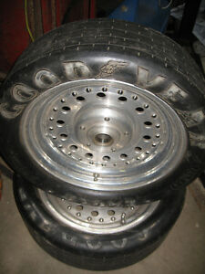 Centreline aluminum front drag wheels and Goodyear tires, 15 in