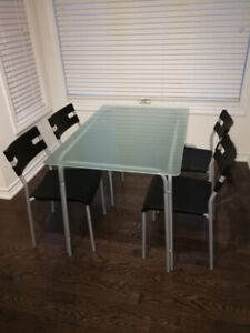 Ikea Glass Dining Set w/ 4 Plastic Chairs $30 OBO