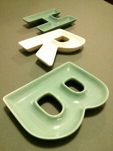 3 Ceramic Dishes in Letters H, R, B