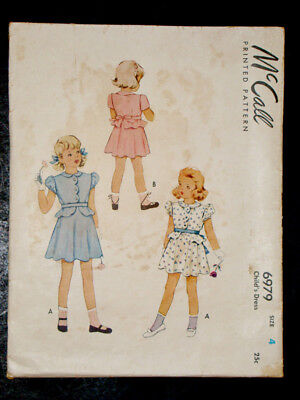 1940's Vintage McCALL #6979 Fashion Doll GIRLS DRESS PATTERN / Child's Size 4