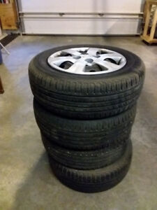 Used 185/65R14 Kinforest Radial Tires-Rims-Hub Caps