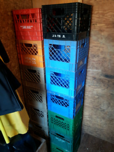 Qty 13 milk crate, blue, green, red, orange and beigh