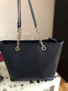 Navy tote with gold accents